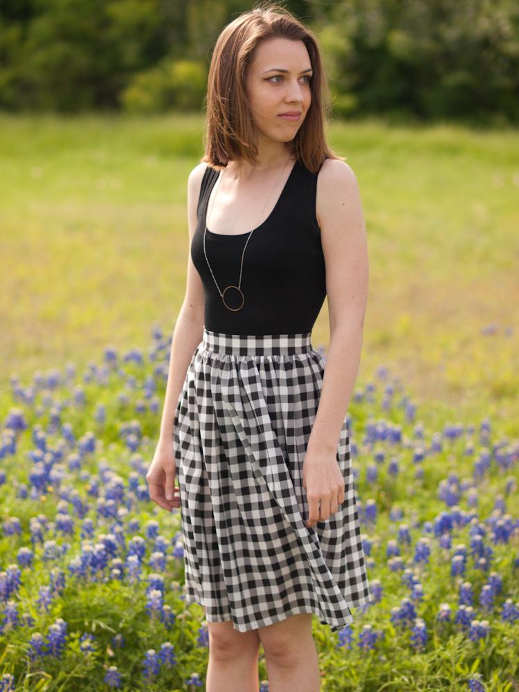 Silk Gingham Skirt