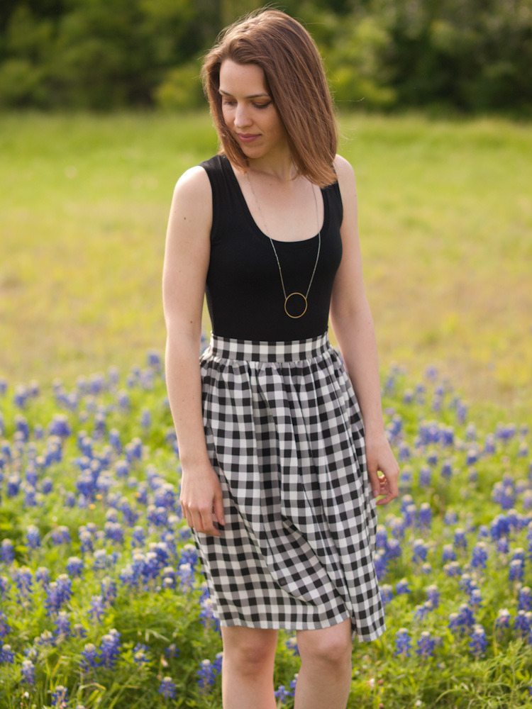 Silk Gingham Skirt
